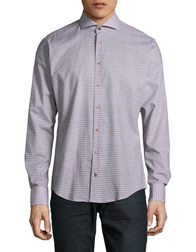 Bugatti Printed Woven Sport Shirt-BLUE-Medium