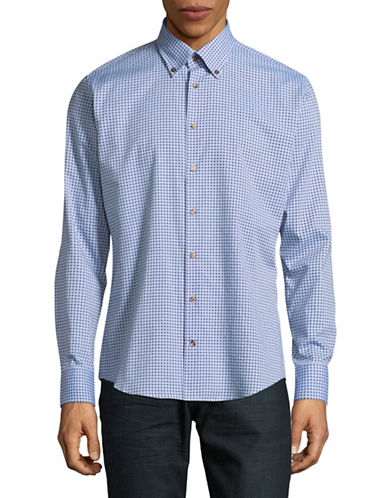 Bugatti Easy-Care Printed Sport Shirt-BLUE-X-Large