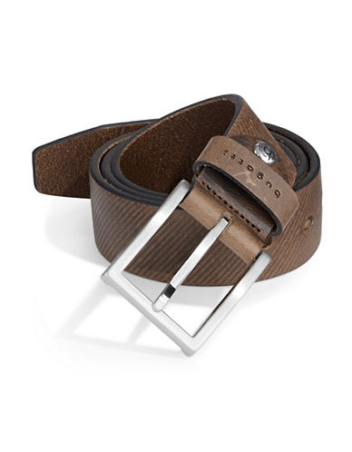 Bugatti Textured Leather Belt-BROWN-34