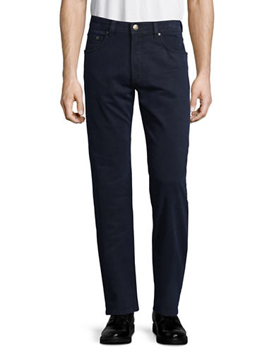 Bugatti Buttoned Five-Pocket Pants-BLUE-34X34
