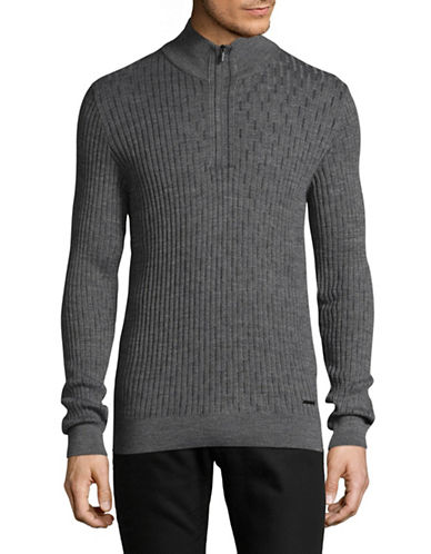 Bugatti Ribbed Quarter-Zip Mock Neck Sweater-GREY-Large