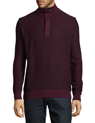 Bugatti Diamond Knit Quarter-Zip Sweater-RED-Medium