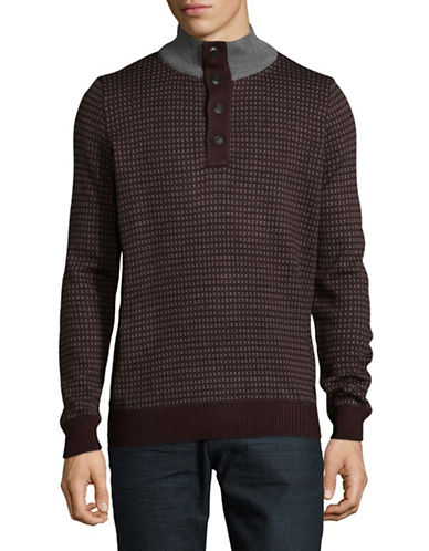 Bugatti Ribbed Quarter-Button Mock Neck Sweater-RED-XX-Large