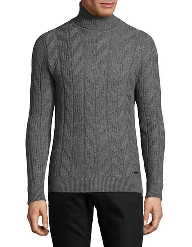 Bugatti Chevron Cotton Sweater-GREY-Large