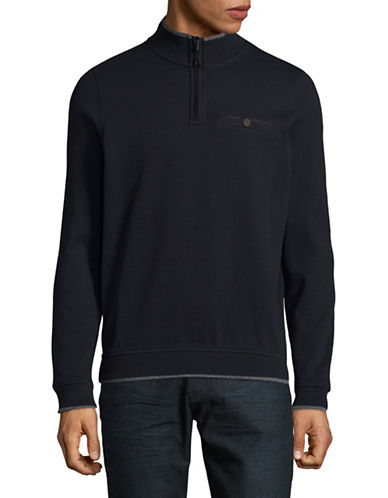Bugatti Half-Zip Cotton Sweater-BLUE-XX-Large