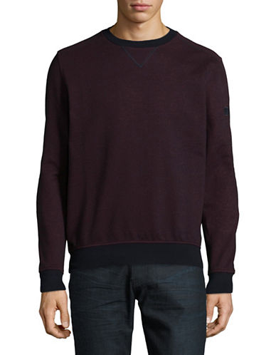 Bugatti Two-Tone Cotton Sweater-RED-Medium