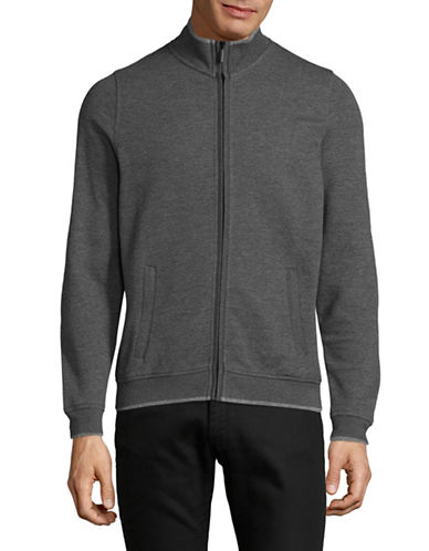 Bugatti Zip-Up Knitted Jacket-GREY-X-Large