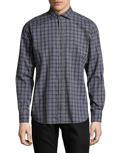 Bugatti Checkered Cotton Sport Shirt-GREY-X-Large