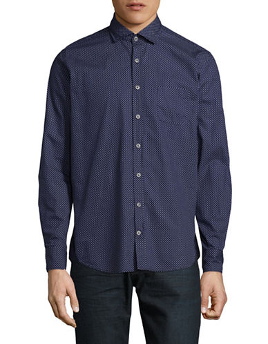 Bugatti Mini Dots Cotton Sport Shirt-BLUE-X-Large