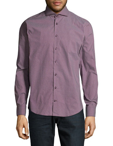 Bugatti Geometric Cotton Button-Down Shirt-RED-Small
