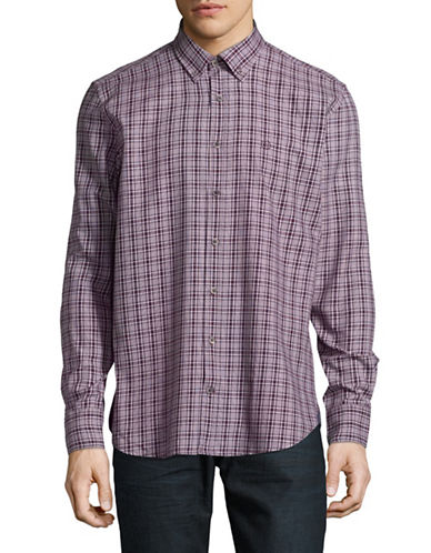 Bugatti Plaid Cotton Button-Down Shirt-RED-Medium