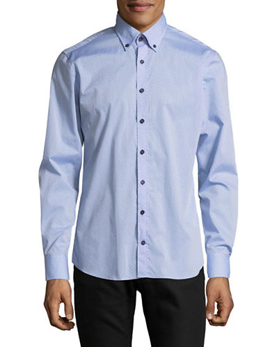 Bugatti Mini Dots Cotton Sport Shirt-BLUE-Medium