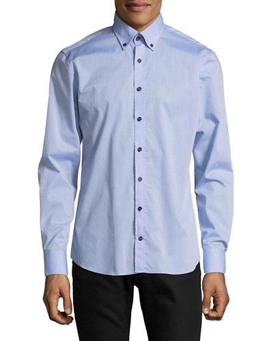 Bugatti Mini Dots Cotton Sport Shirt-BLUE-Large