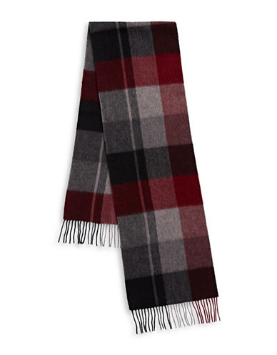 Bugatti Plaid Wool Scarf-RED-One Size