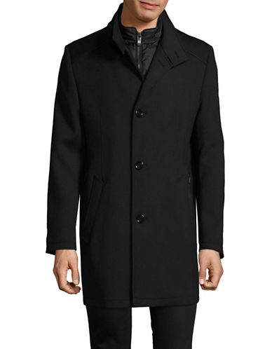 Bugatti Wool-Blend Gilet Car Coat-BLACK-44