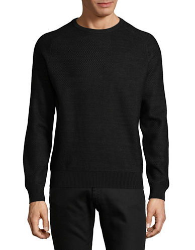 Bugatti Versatile Wool-Blend Sweatshirt-BLACK-Small