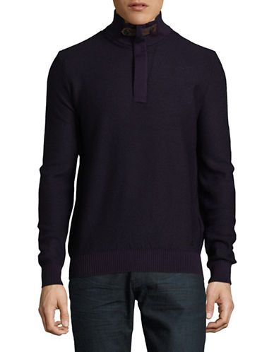 Bugatti Diamond Knit Quarter-Zip Sweater-PURPLE-Small