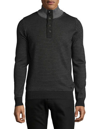 Bugatti Ribbed Quarter-Button Mock Neck Sweater-GREY-X-Large