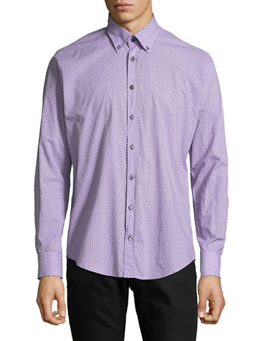 Bugatti Cotton Sport Shirt-PURPLE-X-Large