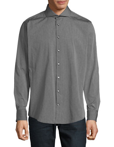 Bugatti Long-Sleeve Cotton Sport Shirt-GREY-Large
