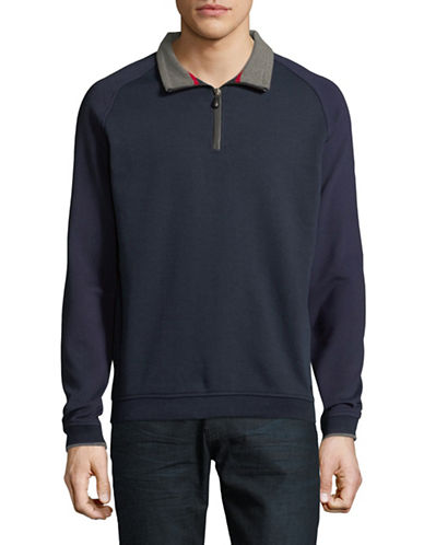 Bugatti Long-Sleeve Knit Pullover-BLUE-Large