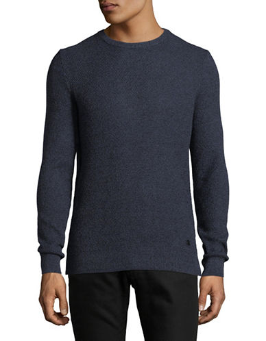 Bugatti Crew Neck Cotton Sweater-BLUE-Medium