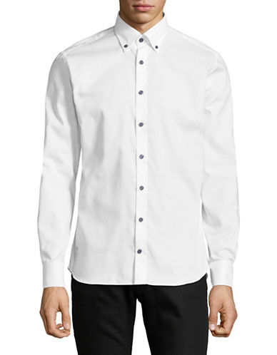 Bugatti Button Collar Cotton Sport Shirt-WHITE-Large
