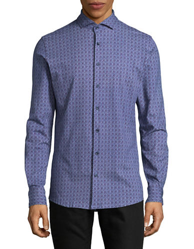 Pure Extra Slim Fit Dot-Print Sport Shirt-BLUE-Large