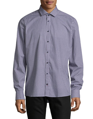 Pure Slim Fit Diamond Print Sport Shirt-NAVY-Large