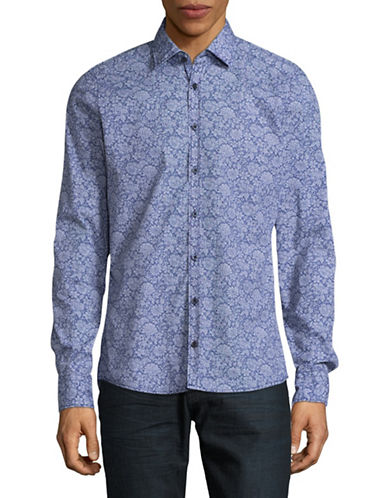 Pure Slim Fit Floral Sport Shirt-BLUE-X-Large