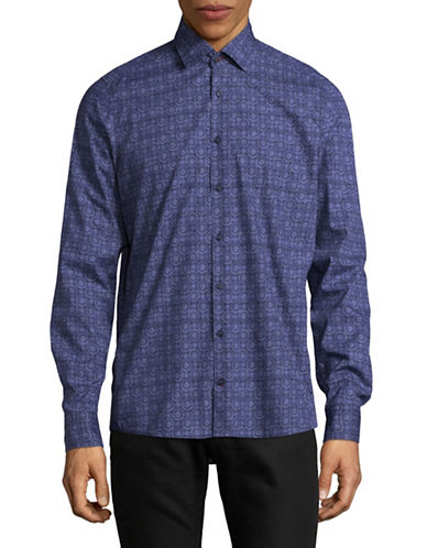 Pure Slim Fit Medallion Sport Shirt-BLUE-Medium
