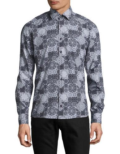 Pure Slim Fit Medallion Mosaic Sport Shirt-GREY-Large