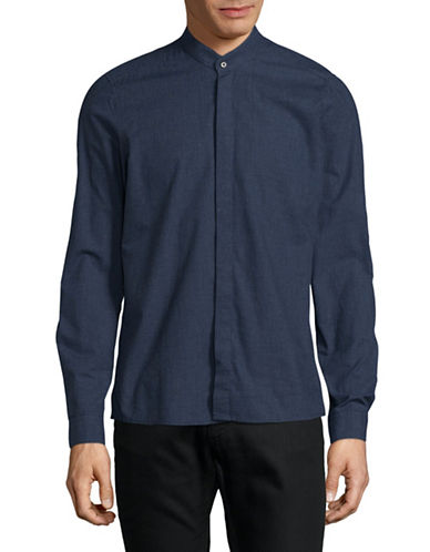 Pure Slim Fit Tonal Print Sport Shirt-BLUE-Large