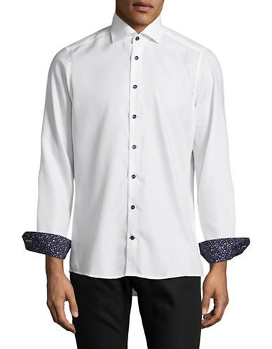 Pure Slim Fit Diamond Print Sport Shirt-WHITE-X-Large