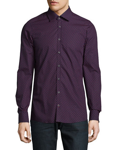 Pure Slim Fit Diamond Print Sport Shirt-RED-Large