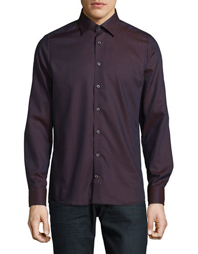 Pure Slim Fit Diamond Print Sport Shirt-BROWN-Large