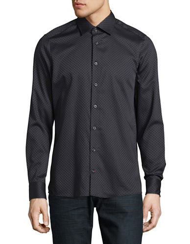 Pure Slim Fit Diamond Print Sport Shirt-BLACK-Large