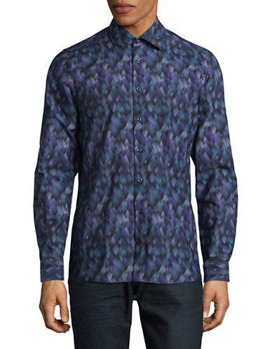 Pure Printed Cotton Button-Down Shirt-BLUE-Medium