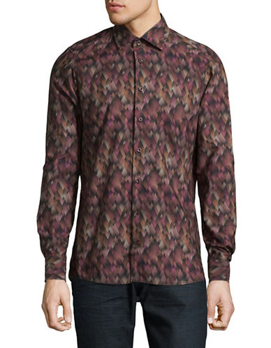 Pure Printed Cotton Button-Down Shirt-BROWN-Small