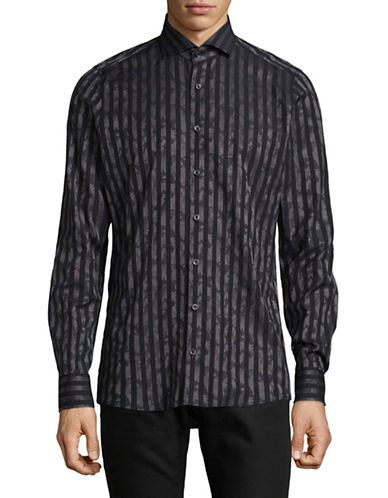 Pure Slim Fit Diamond Print Sport Shirt-BLACK-Small