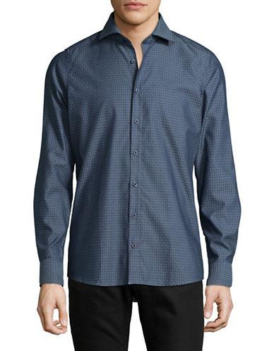 Pure Slim Fit Diamond Print Sport Shirt-BLUE-Large