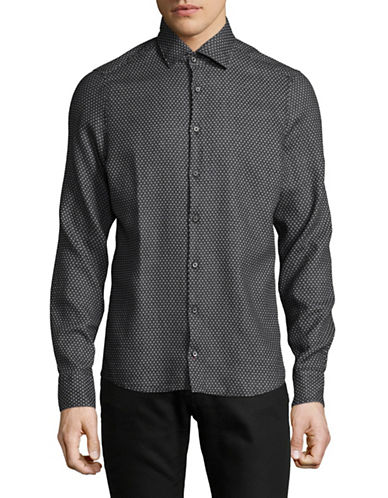 Pure Slim Fit Diamond Print Sport Shirt-BLACK-X-Large