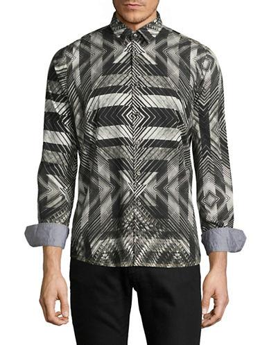 Pure Paisley Print Sport Shirt-BLACK-Small