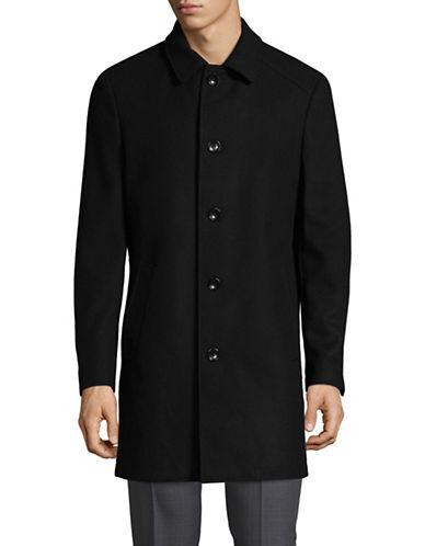 Sondergaard Button Front Wool Coat-BLACK-40
