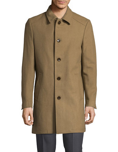 Sondergaard Button Front Wool Coat-BEIGE-42