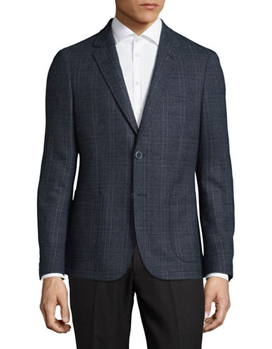 Sondergaard Slim-Fit Stretch Plaid Sports Jacket-NAVY-42 Short