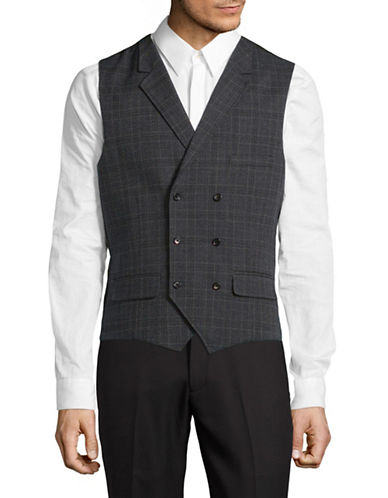 Sondergaard Slim Fit Plaid Suit Vest-GREY-44 Regular