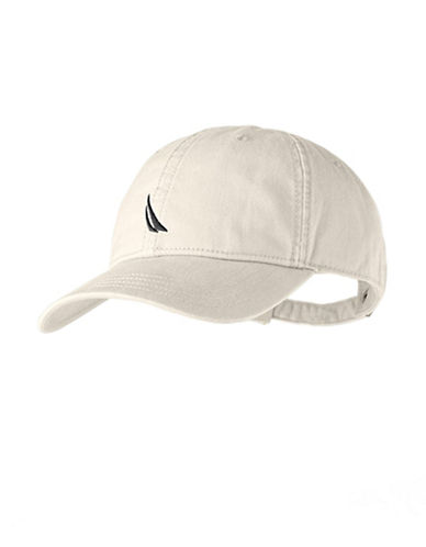 Nautica Chino Twill 6 Panel Cap-NATURAL/WHITE-One Size
