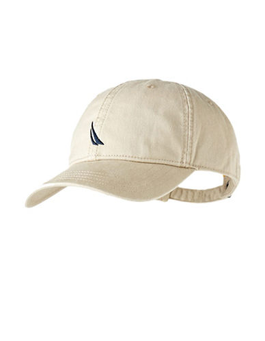 Nautica Chino Twill 6 Panel Cap-BEIGE-One Size