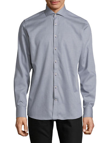 Bruun And Stengade Modern Fit Heathered Sport Shirt-NAVY-EU 40/US Medium